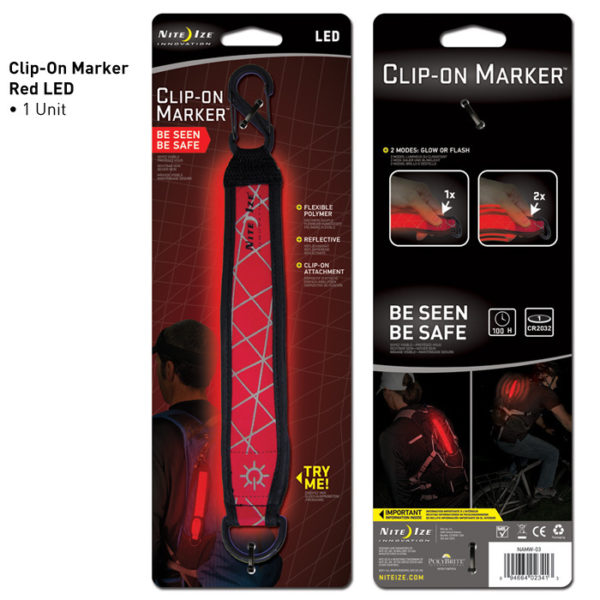 NiteIze Clip-On Marker Red LED helkurriba
